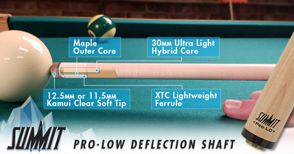 Summit Low Deflection Pool Cues and Shafts